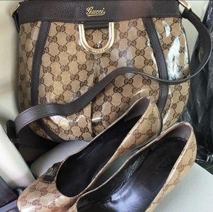 Gucci crystal purse and shoes size 37